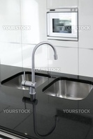 kitchen faucet and oven modern black and white interior design