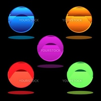 Collection of five buttons in bright vivid colours with shadow