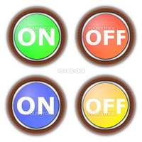 on and off button collection isolated on white