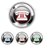 Telephone  phone icon, button. Realistic vector illustration.