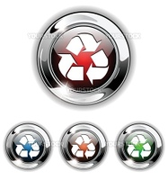 Recycle icon, button. Realistic vector illustration.