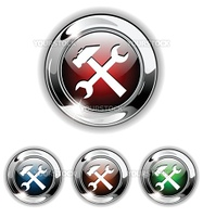 Settings, tools icon, button. Realistic vector illustration.