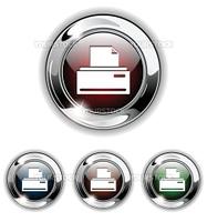 Print icon, button. Realistic vector illustration.