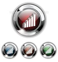 Statistics, data icon, button. Realistic vector illustration.