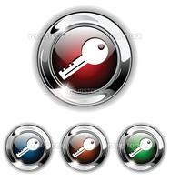 key, private icon, button. Realistic vector illustration.