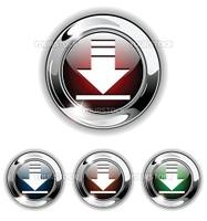 Download icon, button. Realistic vector illustration.