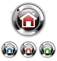 Home icon, button. Realistic vector illustration.
