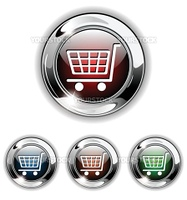 Shopping cart, buy icon, button. Realistic vector illustration.