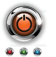 Start icon, button, glossy metallic shining chrome.