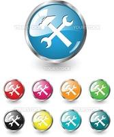 Repair icon, button multicolored vector set