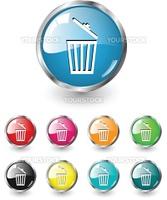 Delete icon, button, multicolored vector set