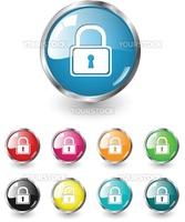 Security icon, button, multicolored vector set