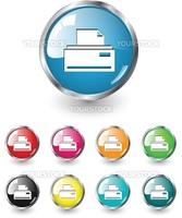 Print icon, button, multicolored vector set