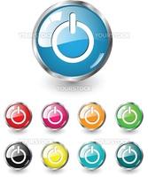 Start icon, button, multicolored vector set