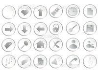 Illustration of different white round web buttons