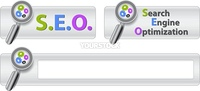 Web buttons with text search engine optimization and magnifier. Vector illustration.