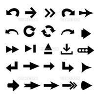 Set of 25 arrow shape variations