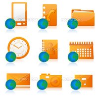 illustration of set of different office icon