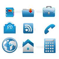 illustration of business icons on white background