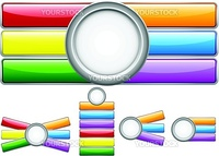 Glossy web buttons with colored bars. Editable Vector Illustration