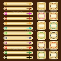 Web buttons, gold based with assorted colored arrows and shapes. Isolated on brown.
