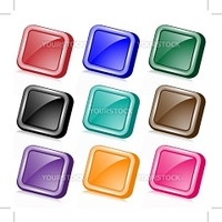 Square angled web buttons set in nine assorted colors with reflection. Isolated on white.