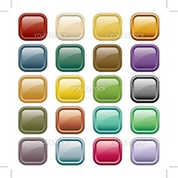 Web buttons in 20 rounded square assorted colors. Isolated on white.