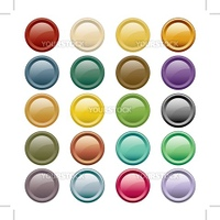 Web buttons in 20 round assorted colors. Isolated on white.