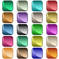 Web buttons in 20 shiny rounded square assorted colors. Isolated on white.