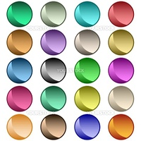 Web buttons in 20 round shiny assorted colors. Isolated on white.