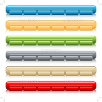 Web buttons, navigation bars with reflection, set of 6 in assorted colors. Isolated on white.