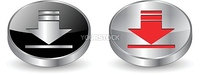 Download icon, button. 3d metallic vector.