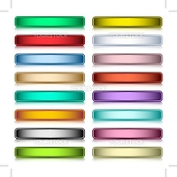 Web buttons set in 16 assorted colors with reflection. Scalable. Isolated on white.