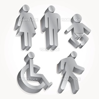 Icon set vector people 3D