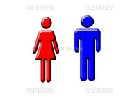 a blue and red pictogram of a man and a woman