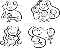 Collection of four black-and-white icons representing motherly love: Pregnant mom looking forward to her baby's birth, mom and kids, mom and baby