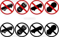Vector illustration of warning skateboard signs