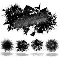 Set of abstract banner, crystal and fiber balls