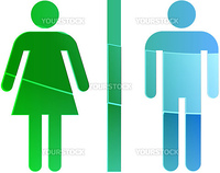 Toilet symbol illustration, classic design of man and woman