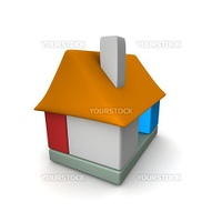 Colorful house icon built of blocks. 3d rendered illustration.