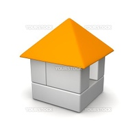 Gray house built of blocks. 3d rendered illustration.