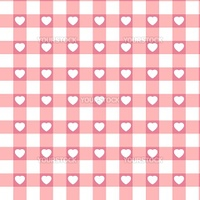 Swatch ready seamless Hearts & Gingham vintage design in pastel pink background. EPS 8 vector file included