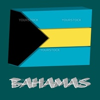 bahamas tridimensional flag, abstract vector art illustration