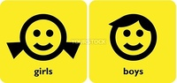girl and boy gender signs on yellow background