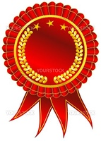 Blank award ribbon rosette isolated on white