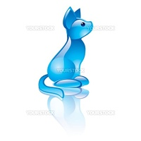 Vector illustration of cat symbol. Blue transparent statuette