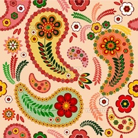 Gentle pink seamless pattern with paisley and flowers (vector)