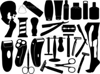 Shaving tools set isolated on white