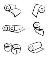 An illustration of paper roll icons made with line art