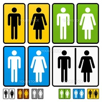 Restrooms scalable vector shape optimized for shape cutting and emboss in standard color setups